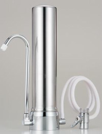 Stainless steel counter top water filter